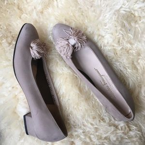 Salvatore Ferragamo Taupe Loafers with Tassles